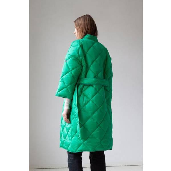 Lempelius Quilted Kimono Coat Bright Green